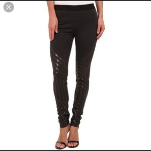 BCBGMAXAZRIA Black Lacie Sequin Leggings